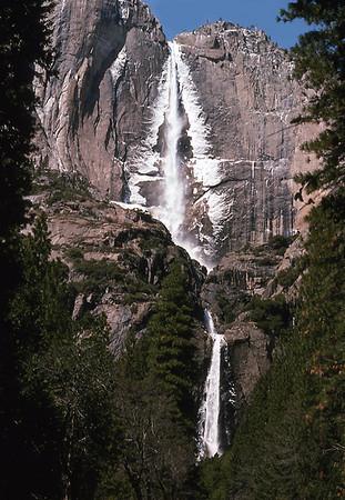 Bridal Veil Falls, Yosemite National Park, the Sierra Nevada, eastern California, 1975.