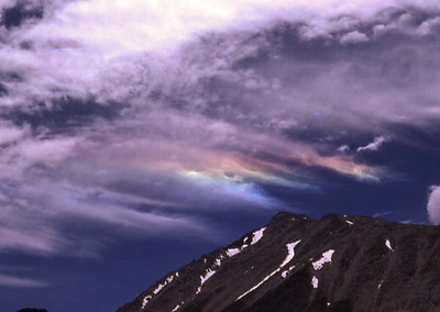 Noctilucent clouds: Minarets Wilderness, Sierra Nevada. (August 1980)