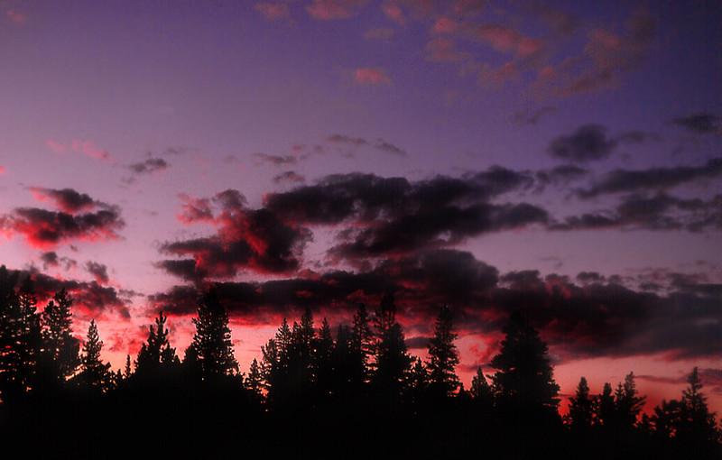 Sunset in the high passes of the John Muir Wilderness, Sierra Nevada. (Summer 1971)