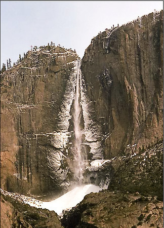 Bridal Veil Falls, Yosemite Valley, in the Sierra Nevada. (May 1975)