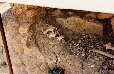 Close-up of the excavation (near the Temple of Zeus site) of a single human grave, probably that of one of the site's inhabitants during the early Christian Era,  Nemea, Corinthia Province. One of the onsite staff of the U.C. Berkeley archeological team indicate that it was the skeleton of a monk or other lower-rank cleric.