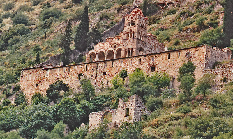 The Pantanassa Monastery of Mystras was founded by a chief minister of the late Byzantine Despotate of the Morea, John Frankopoulos, and was dedicated in September 1428. It is the only monastery on the site of Mystras still permanently inhabited. Today it is inhabited by nuns providing hospitality for tourists and other visitors.