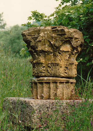 The severed capital of a column near the Gymnasium, Olympia.