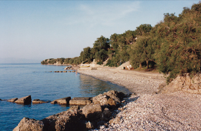 "The private beach at ""Kamping Kreioneri"" travellers camp in Akrata, Achaea Province in north Peloponnesus."