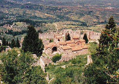 Mystras: The buildings of the Metropolis seen from above.