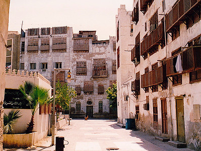A typical street in Jeddah's old residential and commercial district of Bab Al Yemeni (The Yemen Gate).