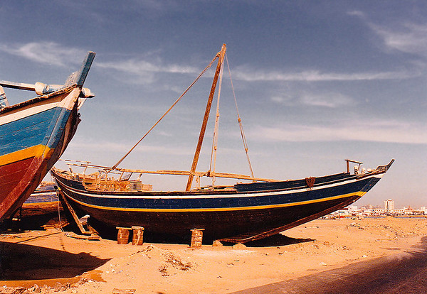 The fishing fleet beached at Jeddah Port, Saudi Arabia.