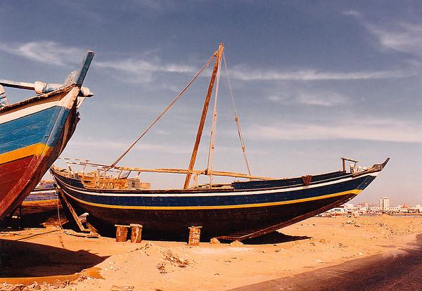 The fishing fleet beached at Jeddah Port, Saudi Arabia.