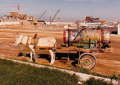 I shot this mule-powered drinking-water caisson early in 1986 at Jeddah Port. I later learned that the owner of this rig was the last of the old-style water vendors who had plied their trade for hundreds of years in Jeddah. The inauguration of a modern seawater purification plant and modern Mercedes tanker trucks did away with this ancient trade almost over night.