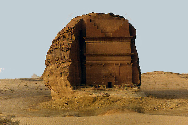 "One of the Nabatean ""tombs"" at the Al Hijr site, Mada'in Saleh National Historic Park, western Saudi Arabia. Passed by on my way to the beginning of the Madinah end of the Hejaz Railway roadbed, 1988."