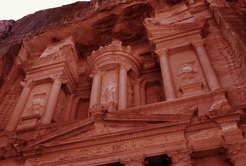 "Close-up of the façade of Al Khazneh (popularly known as ""the Treasury"")."