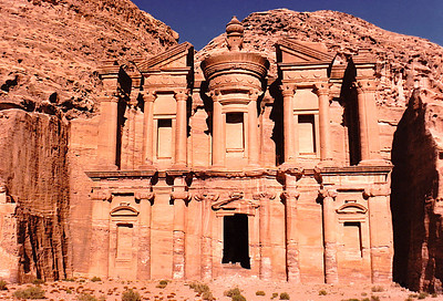 "The Monastery, Petra's largest monument, dates from the 1st century BC. It was dedicated to Obodas I and is believed to be the symposium of Obodas the god. This information is inscribed on the ruins of the Monastery (the name is the translation of the Arabic ""Ad Deir"")."