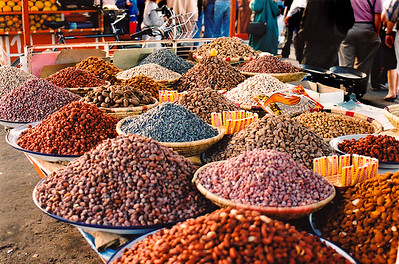 Fes al Bali: A spice vendor's colorful display of his many wares.