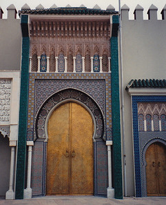 Ornately-decorated gate entrance to a madrasa in Fes.