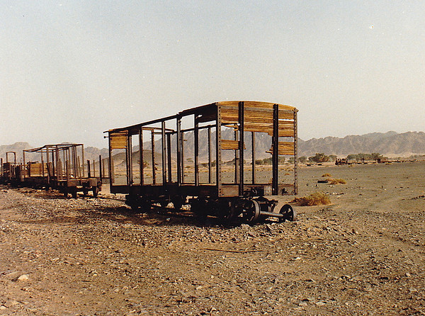Freight cars stripped bare of their wood coverings at the Hadiyah Station site.