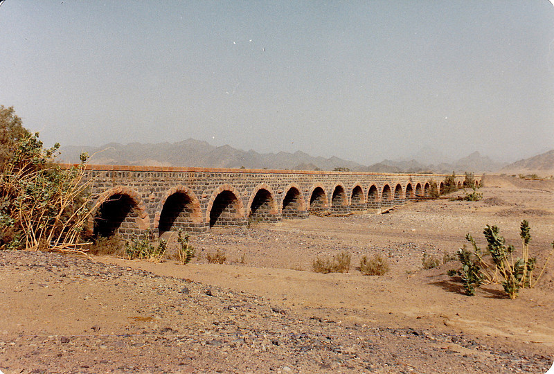 The still-intact rail bridge at Wadi At'il. It and others like it were completely built from locally-quarried stone. The masonry rail bridges were about the only structure on the railway that showed no signs of wear.