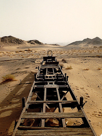 Rolling stock (freight cars) stripped of their wood covering (used by the local bedouin for firewood) at the Hadiyah Station site.