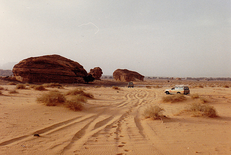 Rock buttes exposed in a wadi outside Mada'in Salih.
