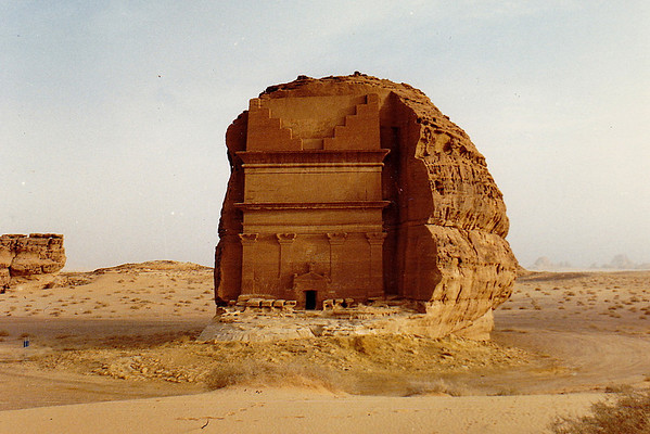 "A Nabatean ""tomb"" cut into a rock butte exposed in a wadi outside Mada'in Salih. These structures are common throughout the region of the Arabian Peninsula that was once a part of ""Arabia Petrae"" (the old Roman province's Latin name) and the Nabatean empire."
