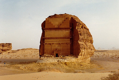 """A Nabatean """"tomb"""" cut into a rock butte exposed in a wadi outside Mada'in Salih. These structures are common throughout the region of the Arabian Peninsula that was once a part of """"Arabia Petrae"""" (the old Roman province's Latin name) and the Nabatean empire."""
