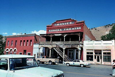 The original facade of the old Eureka Theatre in Austin, Nevada.   August 1976
