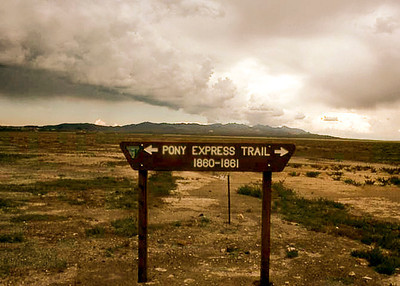 A desert storm passes over a lonely portion of the Pony Express Trail, south-central Nevada.