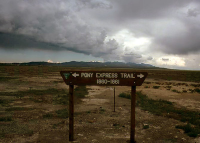While traveling an obscure back road near Fairview, Nevada, I happened onto this roadside sign (erected by the U.S. Bureau of Land Management). Fairview is listed on an old (1861) map of the route the express riders followed through this part of Nevada.  Map URL -- https://upload.wikimedia.org/wikipedia/commons/5/5f/Pony_Express_Map_William_Henry_Jackson.jpg  August 1976