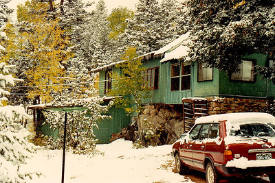 My cabin at Yankee Creek (elevation 8,000 feet-plus), near Evergreen, Colorado in the Front Range of the Rocky Mountains.   February 1991