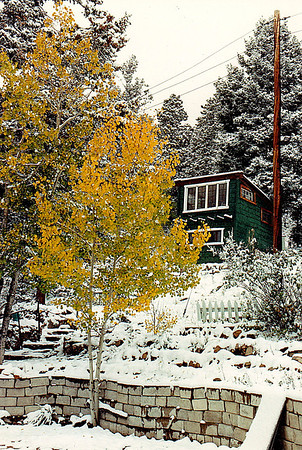 The Bunk House: My cabin at Yankee Creek (elevation 8,000 feet-plus), near Evergreen, Colorado in the Front Range of the Rocky Mountains.  February 1991