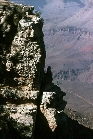 The first leg of the hike down the Grand Canyon on the Bright Angel Trail. The canyon-bottom portion of the trail (light-colored line on canyon bottom) can be seen in the bottom-right corner of the image.   5 March 1972