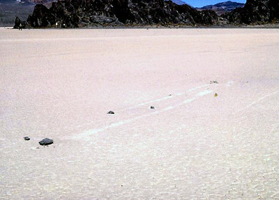 "Racetrack Playa's ""Sailing Stones""  During heavy rains, water washes down from the surrounding mountains draining into the playa, forming a shallow, short-lived lake. Under the hot desert sun, the thin veneer of water quickly evaporates, leaving behind a surface layer of soft, slick mud.  The sailing stones are thought to be pushed along the playa's muddy surface by strong winter winds (more than 90 mph), once it has rained enough to fill the playa with just enough water to make the clay slippery.  Slabs of rock ranging from a few hundred grams to hundreds of kilograms inscribe visible tracks as they slide along the playa surface, leaving distinctive linear and zig-zag patterns when the mud finally dries. These linear scars can last for several years since rainfall is so scarce on the playa.  April 1980"