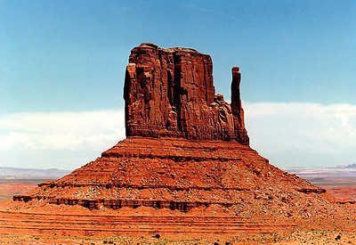 Erosional feature (a butte) known as The Mitten, the Four Corners region (Arizona, New Mexico, Colorado, & Utah) at Monument Valley.