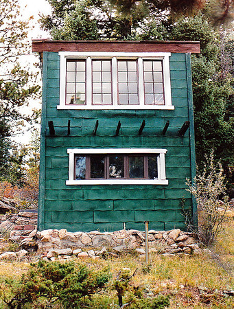 A close-up of The Bunk House: My cabin at Yankee Creek (elevation 8,000 feet-plus), near Evergreen, Colorado in the Front Range of the Rocky Mountains.  June 1992