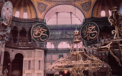 Interior of Hagia Sophia: The most famous restoration of the Aya Sofya was ordered by Sultan Abdülmecid and completed by eight hundred workers between 1847 and 1849, under the supervision of the Swiss-Italian architect brothers Gaspare and Giuseppe Fossati.