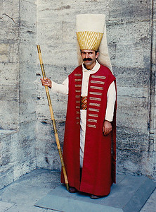 One of the ceremonial Jannisary Guards posted at the entrance to the Topkapi Palace.