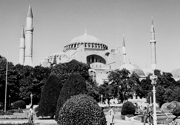A higher-resolution black-and-white photo of Hagia Sophia. In 1453, Mehmed II converted Hagia Sophia into the Aya Sofya Mosque.