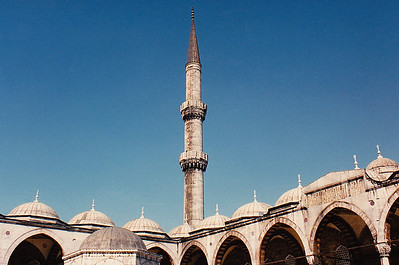 One of the minarets adjoined to an arcade walkway in the Blue Mosque.