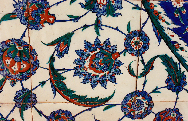 A close-up shot of the famous blue Iznik tiles seen through the inner precincts of Topkapi Palace.