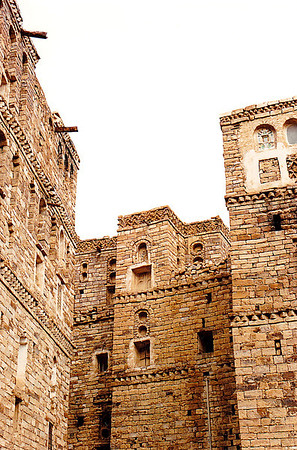 Unmortared masonry buildings of the mountain village of Harajah, northern Yemen.