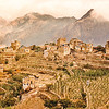 The mountain town of Al Hajarah and its surrounding communal fields; near Manakah, Yemen.