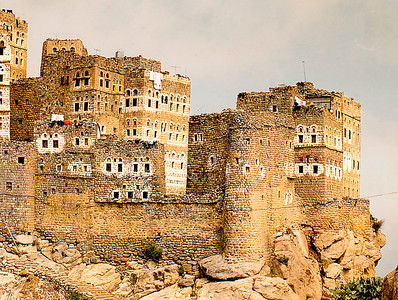 The mountain town of Hajarah is perched on the precipitous heights of a mountaintop in northern Yemen. These houses appear ancient and a bit primitive, but I found that most were fully electrified and had internal plumbing. Many had new vehicles parked outside the high walls of their family compounds.