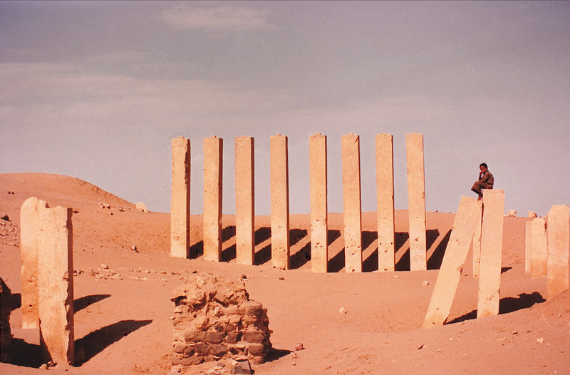 The ruins of the Bilqis Temple, also known as Al Haram Awwam, a Sabean-era structure near Marib, Yemen. <br /> <br /> Many of the homes in this region have incorporated into their structures huge blocks of masonry and alabaster scavenged from the scores of Sabean ruins, many of which still display inscriptions in the arcane Sabean alphabet.