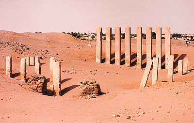 "The ruins of the Bilqis Temple, also known locally as ""Al Haram Awwam"" (as well as the ""Pillars of the Moon Temple""), a Sabean-era structure near Marib, northern Yemen."