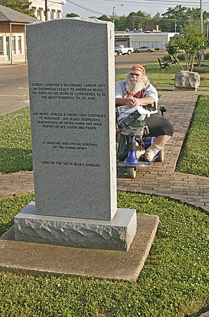 Frank in front of stone marking Hazlehurst MS as the birthplace of Robert Johnson (2008).