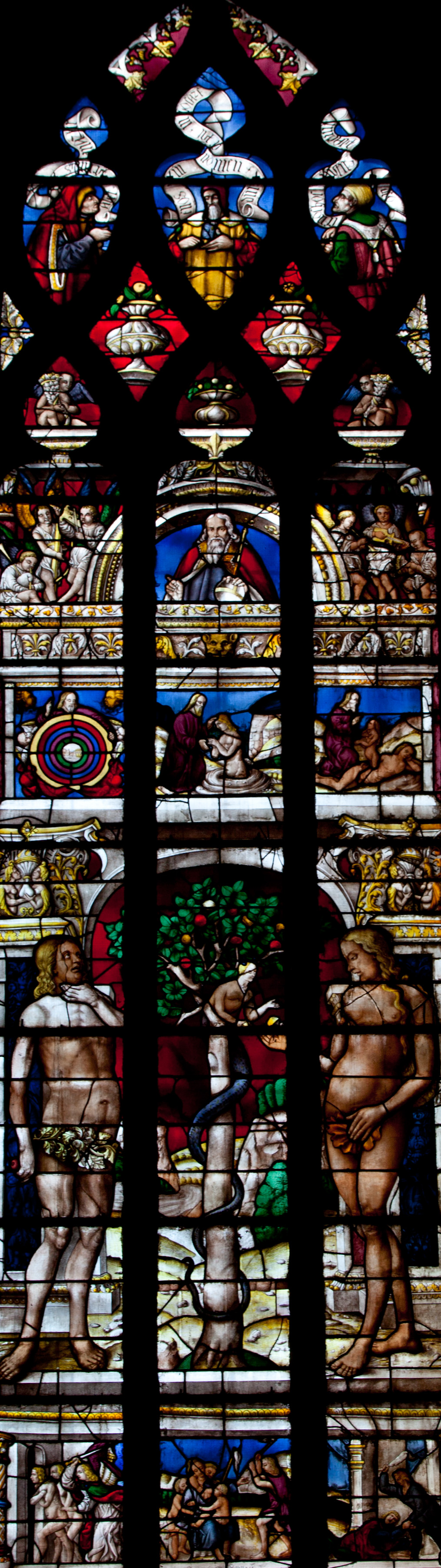 Auch Cathedral Adam and Eve Window, the Temptation