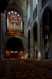Clermont-Ferrand Cathedral Nave Arcade and Rose Window
