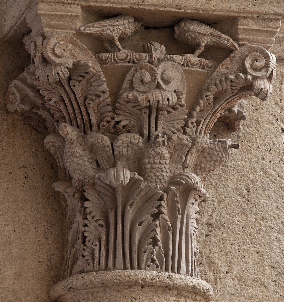 Saulieu Abbey of Saint-Androche Capital, Acanthus Leaves and Birds