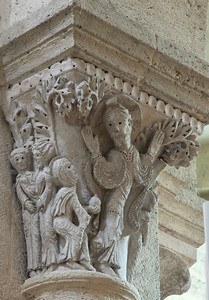 "Saulieu Abbey of Saint-Androche Capital, Christ and Mary Magdalen ""Noli Me Tangere"""