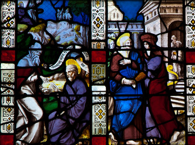 Troyes - Saint-Jean-au-Marche - The Passion Window - Visitation & Unindentified Scene