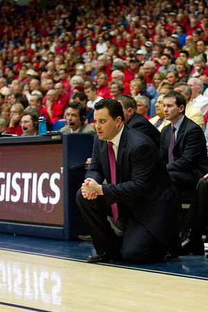 Coach Sean Miller. Arizona vs Clemson basketball 10Dec2011